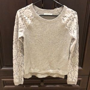 Abercrombie & Fitch Gray Sweater with Lace Sleeves